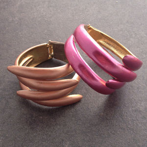 Pair of Colorful Hinged Cuff Bracelets